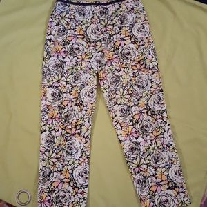 Talbots neon floral Ankle pants